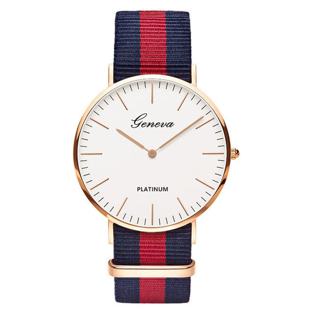 Nylon strap Style Quartz Women Watch