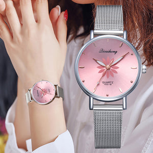 Pink Dial Flowers Ladies Bracelet Quartz Wrist Watch