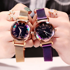Rose Gold Magnet Starry Sky Ladies Wrist Watch