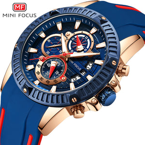 Men Waterproof Relogio Masculino Military Wristwatch Quartz Silicone Blue