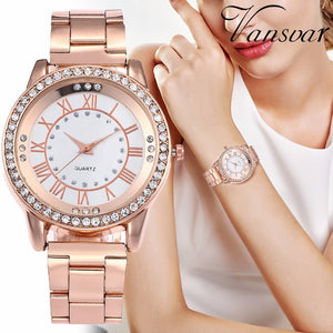 Rose Gold Rhinestone Stainless Steel Quartz Watch