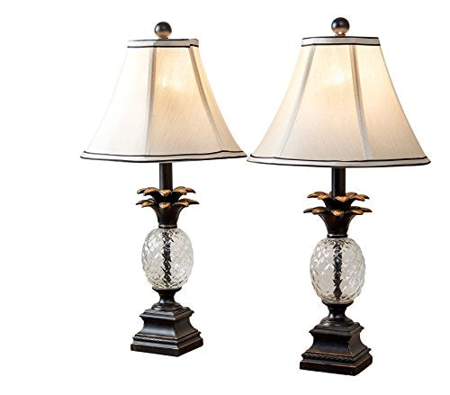 Pineapple Table Lamps, Set of 2, Antiqued Bronze