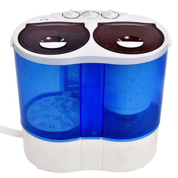 Portable Mini Washing Machine Compact Twin Tub 14.6lbs Washer Spin Spinner