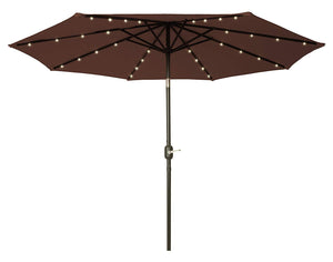 9' LED Patio Umbrella Acrylic Fade Resistant Multi-Year Fabric - Solar Powered with COLORGUARD Fabric by Trademark Innovations (Brown)