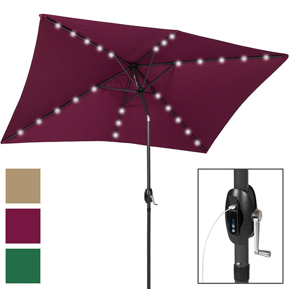 Best Choice Products 10x6.5ft Rectangular Solar LED Patio Umbrella w/USB Charger, Portable Power Bank, Tilt