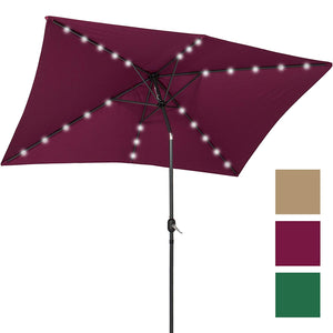 Best Choice Products 10x6.5ft Rectangular Solar-Powered Patio Umbrella w/LED Lights, Tilt Adjustment, Crank