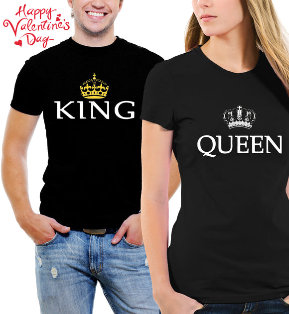 King & Queen Matching Set of His & Her Black T-Shirts / FREE SHIPPING
