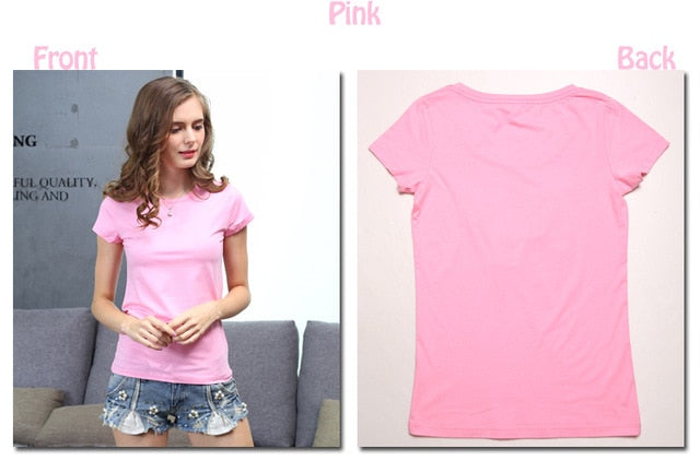Cotton Elastic Basic Plain T Shirt