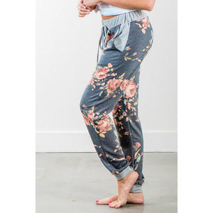 Floral Printed Loose Stretch  Trousers
