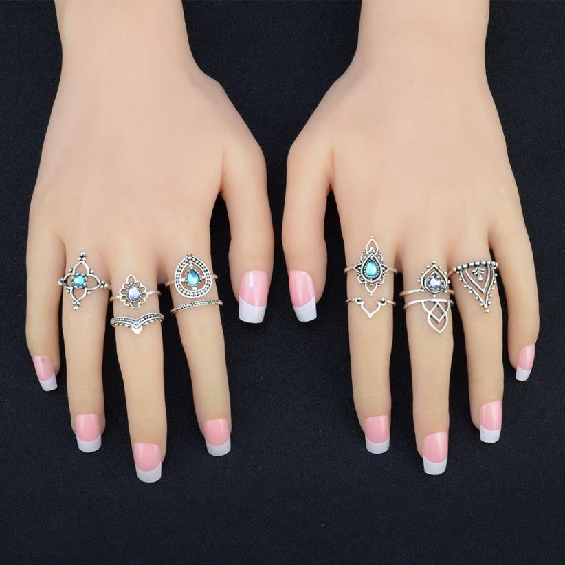 Bohemian Vintage Silver Stack Rings