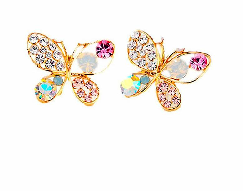 Luxury Bright Colorful Cystal Simulated Pearl Butterfly Earrings