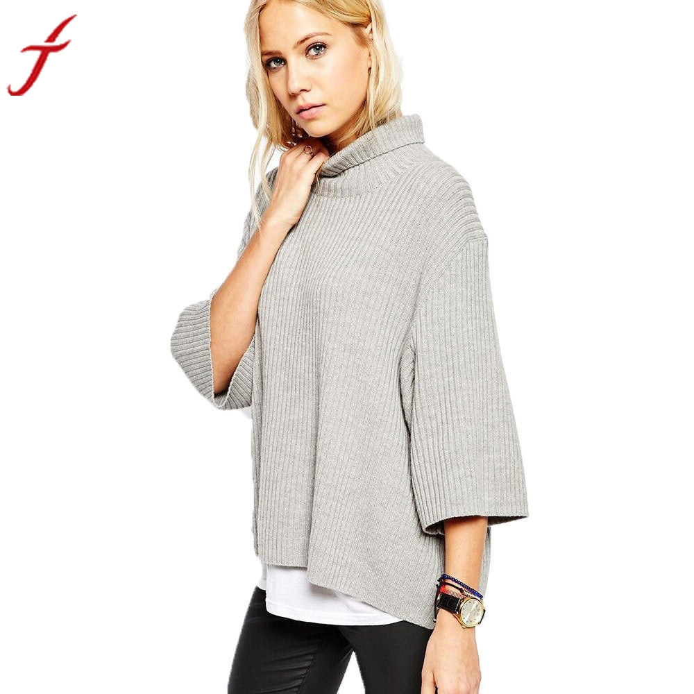 Autumn Turtleneck Roll High Neck Pullovers Loose Sweater
