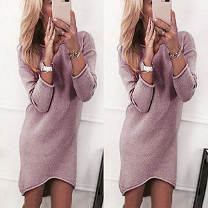 Fashion Women Solid O-Neck Sweater Long Casual Long Sleeve Pullover Dress
