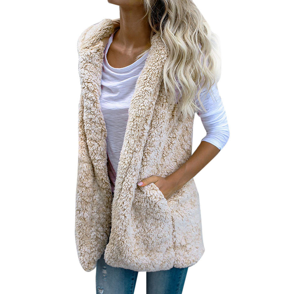 Womens Vest Winter Warm Hoodie Outwear Casual Coat Faux Fur Zip Up Sherpa Jacket