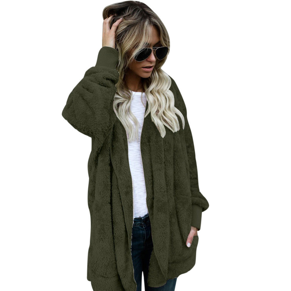 Women Hooded Long Coat Jacket Hoodies Parka Outwear Cardigan Coat