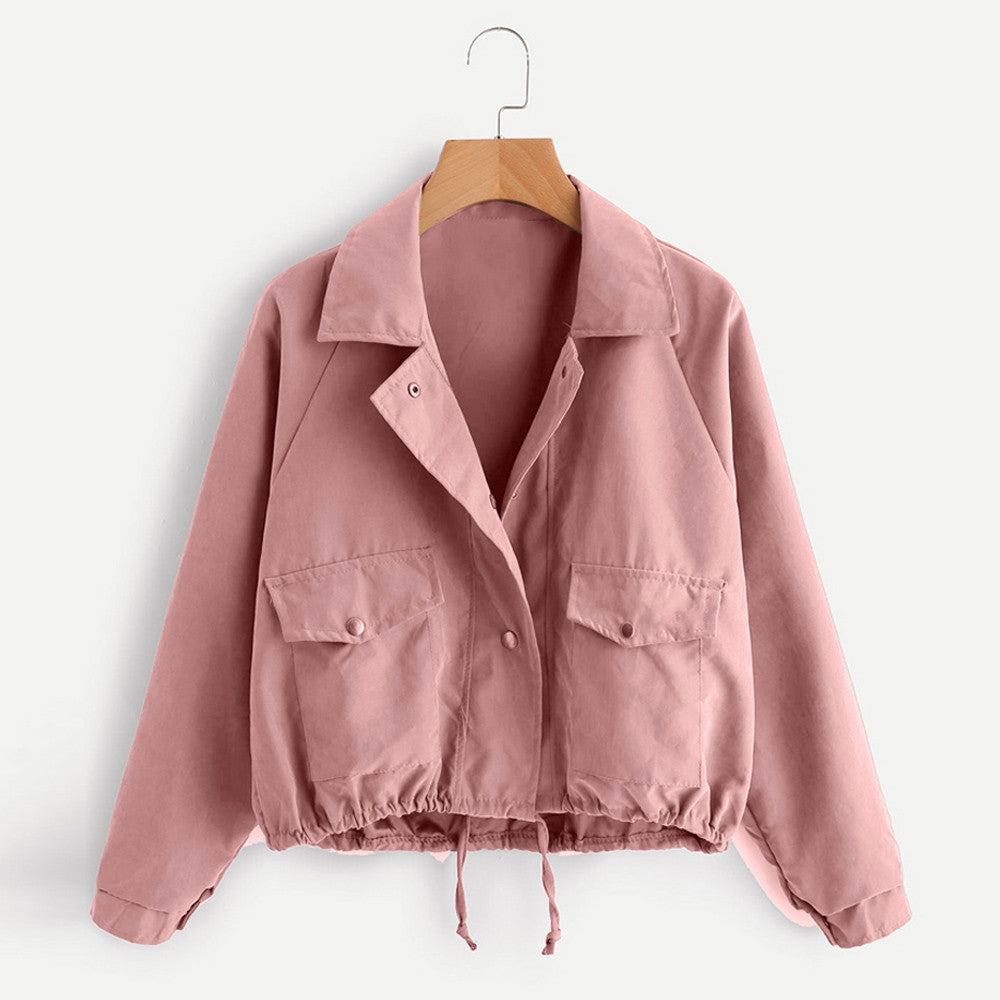 Women Autumn Fashion Short Pink Button Coat Pocket Jacket Cardigan