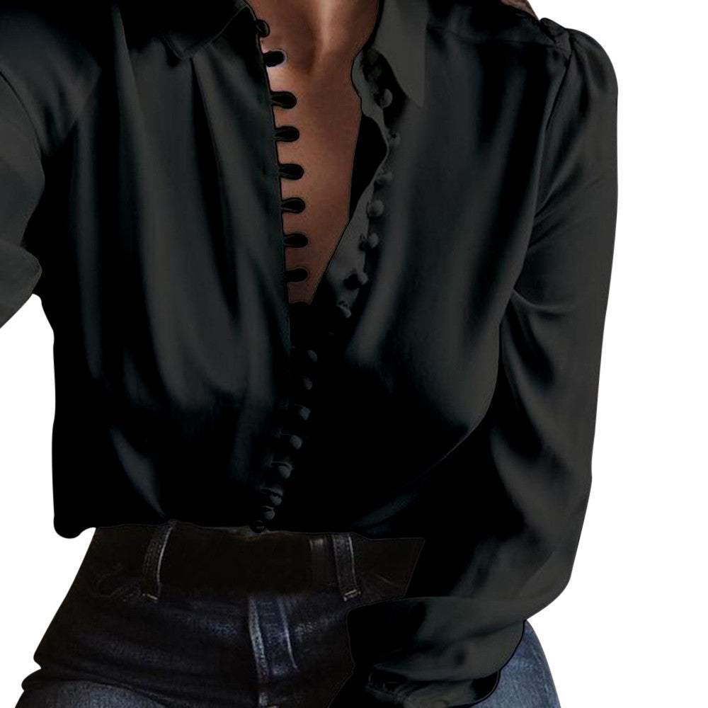 Women Casual Solid Long Sleeves Blouse Lapel Shirt