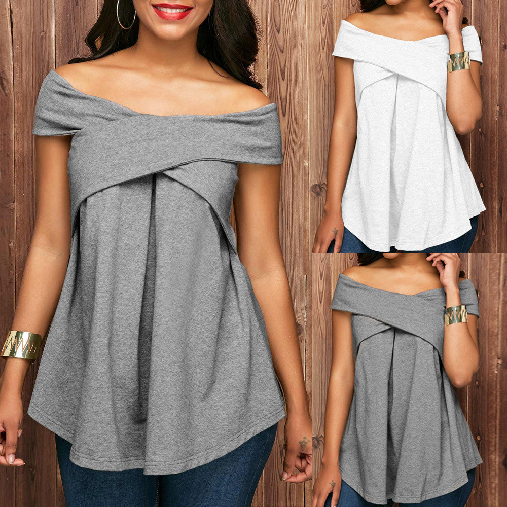 Women Off The Shoulder Short Sleeve Sweatshirt Pullover Tops Blouse Shirt