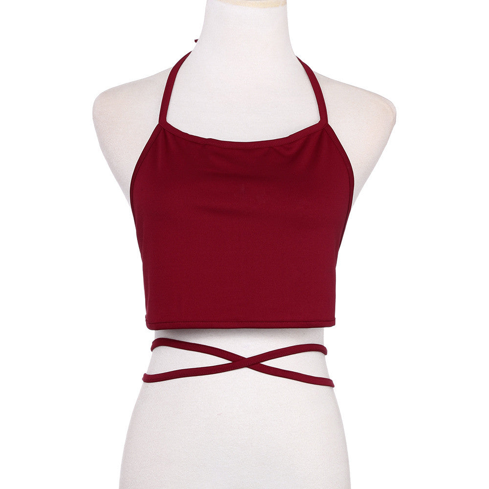 Women Sleeveless Backless Vest Halter Tank Tops Blouse T-Shirt