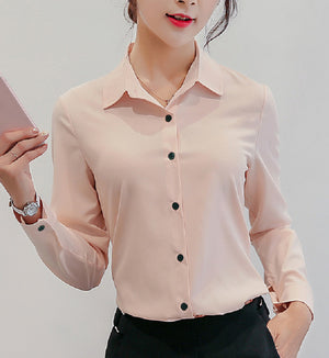 Women's Shirt Long-sleeved Casual Chiffon Shirt