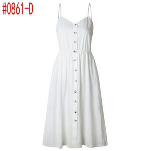 White Floral Dress Striped Female