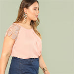 Pink Round Neck Floral Lace Shoulder Casual Blouse