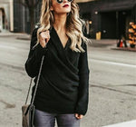 Sexy V Neck Cross Knitted Sweater