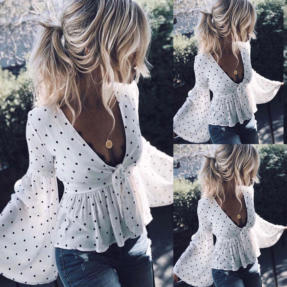 Women's Ruffles Long Sleeve Polka Dot Blouse Casual Shirt Tops T-Shirt
