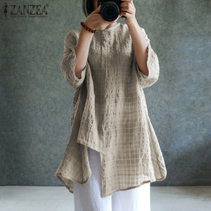 Linen Blouse Long Sleeve Plaid Shirts