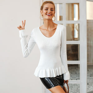 Simplee Ruffle knitted women sweater Flare sleeve v neck peplum tops sweater