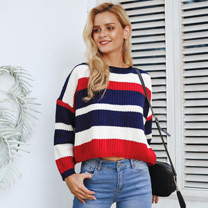 2018 fashion  Vintage rainbow sweater casual pullovers