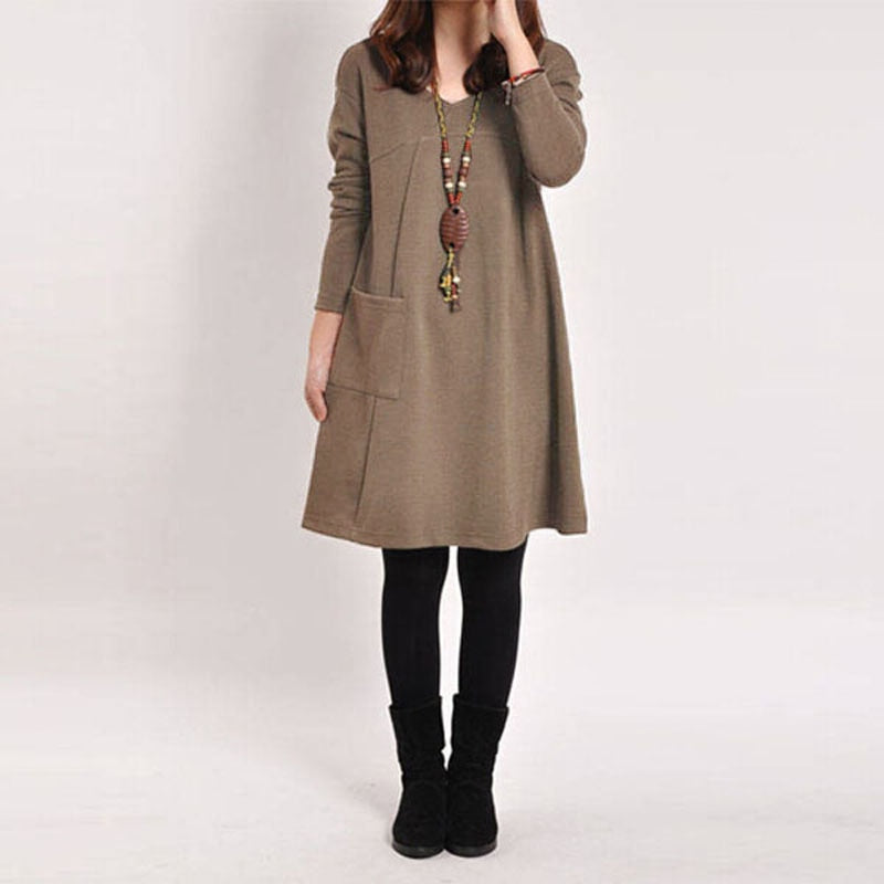Vintage Solid Dresses Casual Loose Long Sleeve W/ Pockets