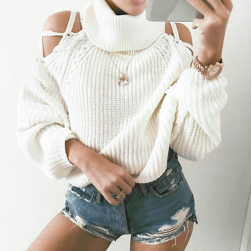 Solid Cold Shoulder Casual Sweater
