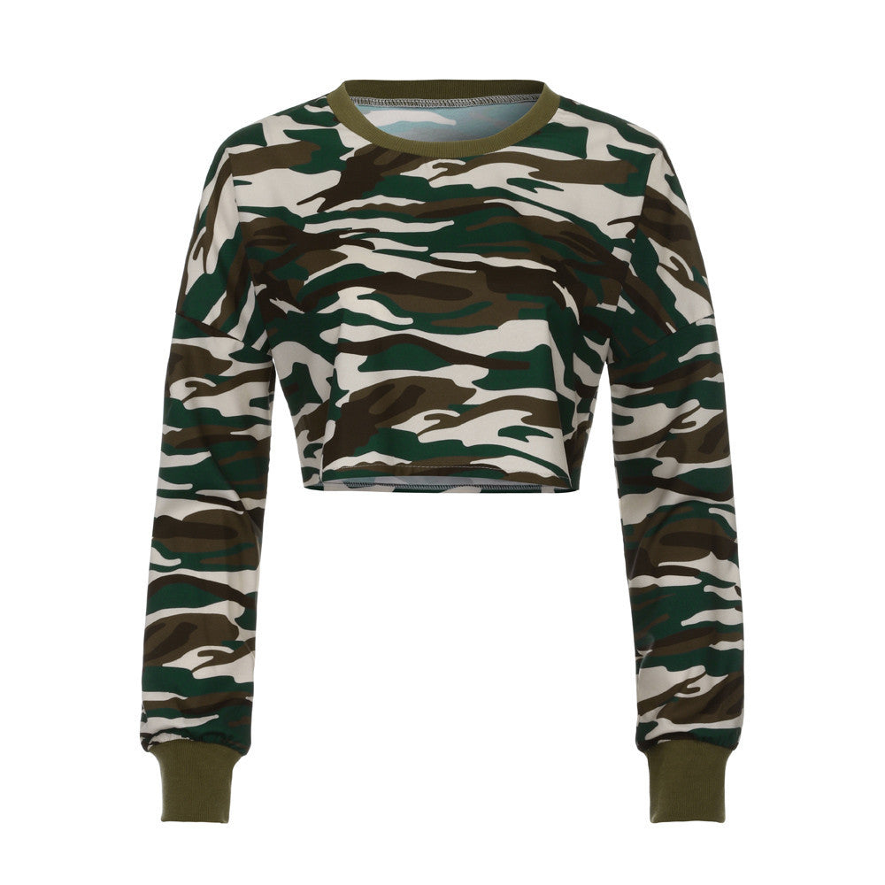 Women's Long Sleeve Camouflag Shirt Casual Blouse Tops T-Shirt