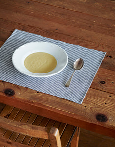 Linen Placemat Grey White Stripes