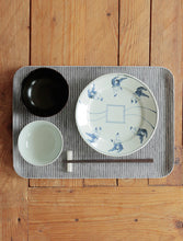 Linen Tray L Grey White Stripes