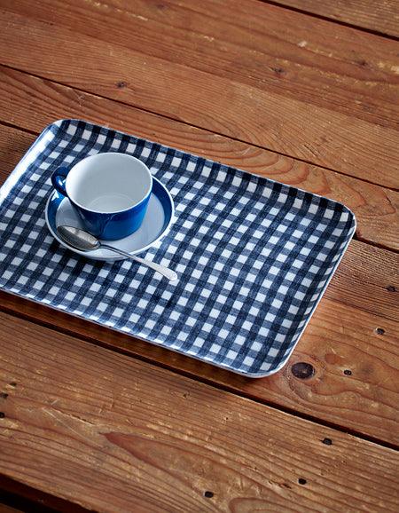 Linen Tray M Navy White Checks