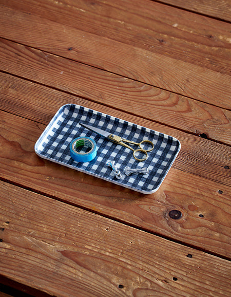 Linen Tray S Navy White Checks