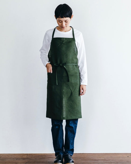 Linen Daily Apron Green Laurel