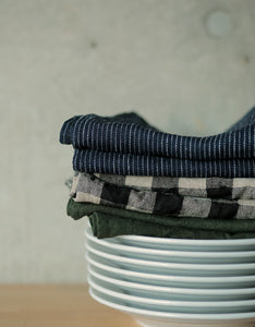 Thick Linen Kitchen Cloth Black Natural
