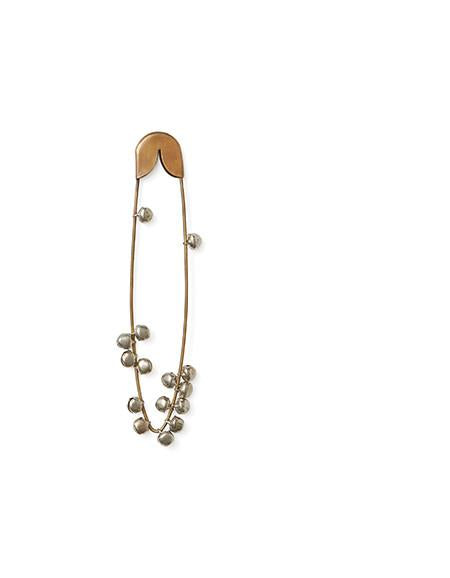 Brass Safety Pin with Bells Medium