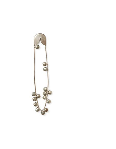 Silver Safety Pin with Bells Medium
