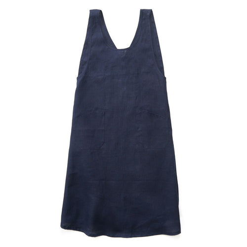 Linen Japanese Over-Apron Navy