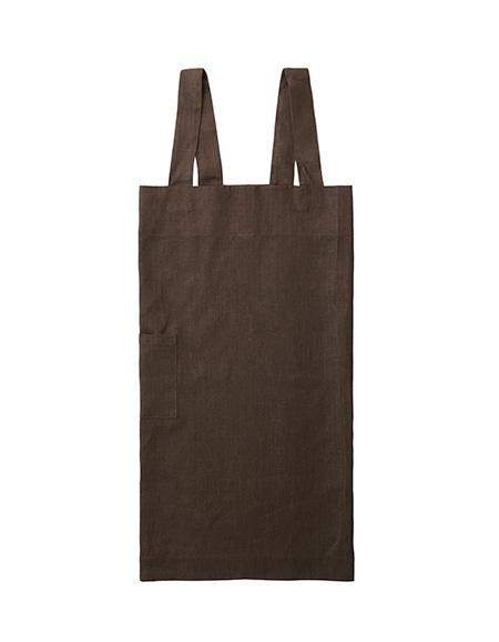 Linen Square Cross Apron Sepia
