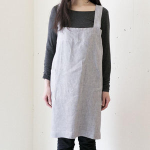 Linen Square Cross Apron Grey White Stripes