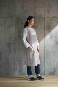 Linen Square Cross Apron Natural