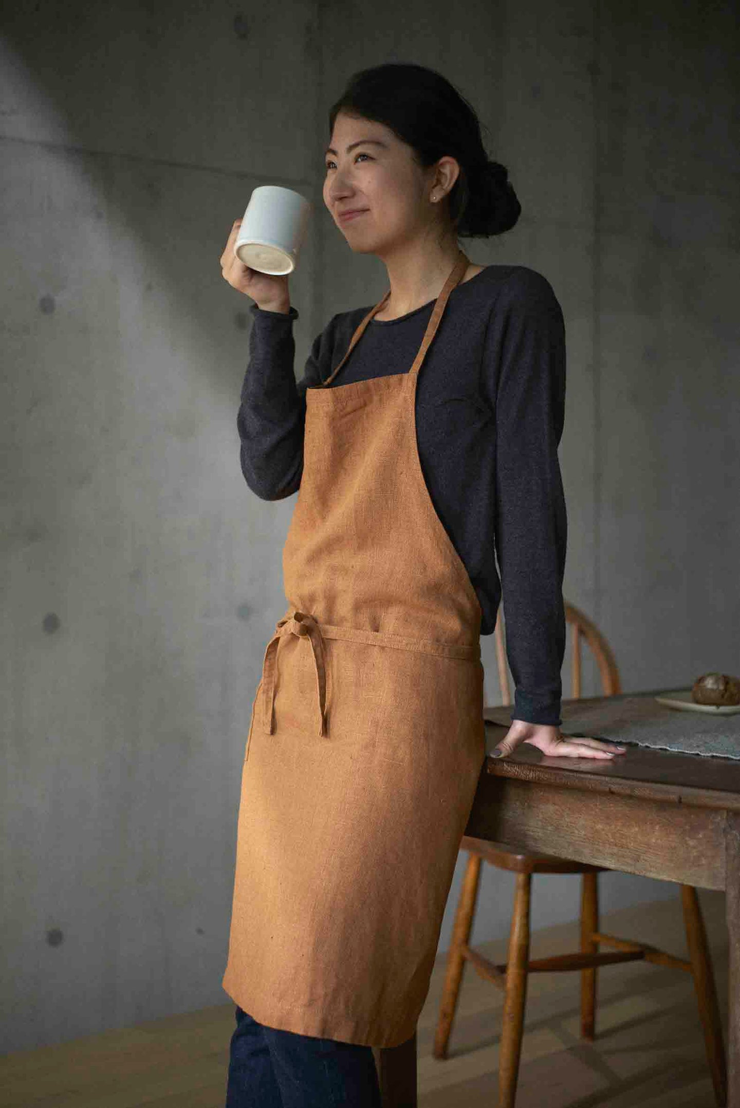 Linen Daily Apron Ocre