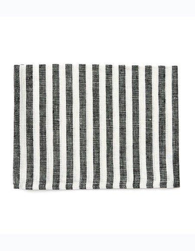 Linen Kitchen Cloth Black White Stripes