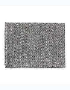 Linen Kitchen Cloth Herringbone Black