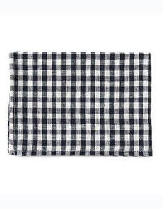 Linen Kitchen Cloth Navy White Checks